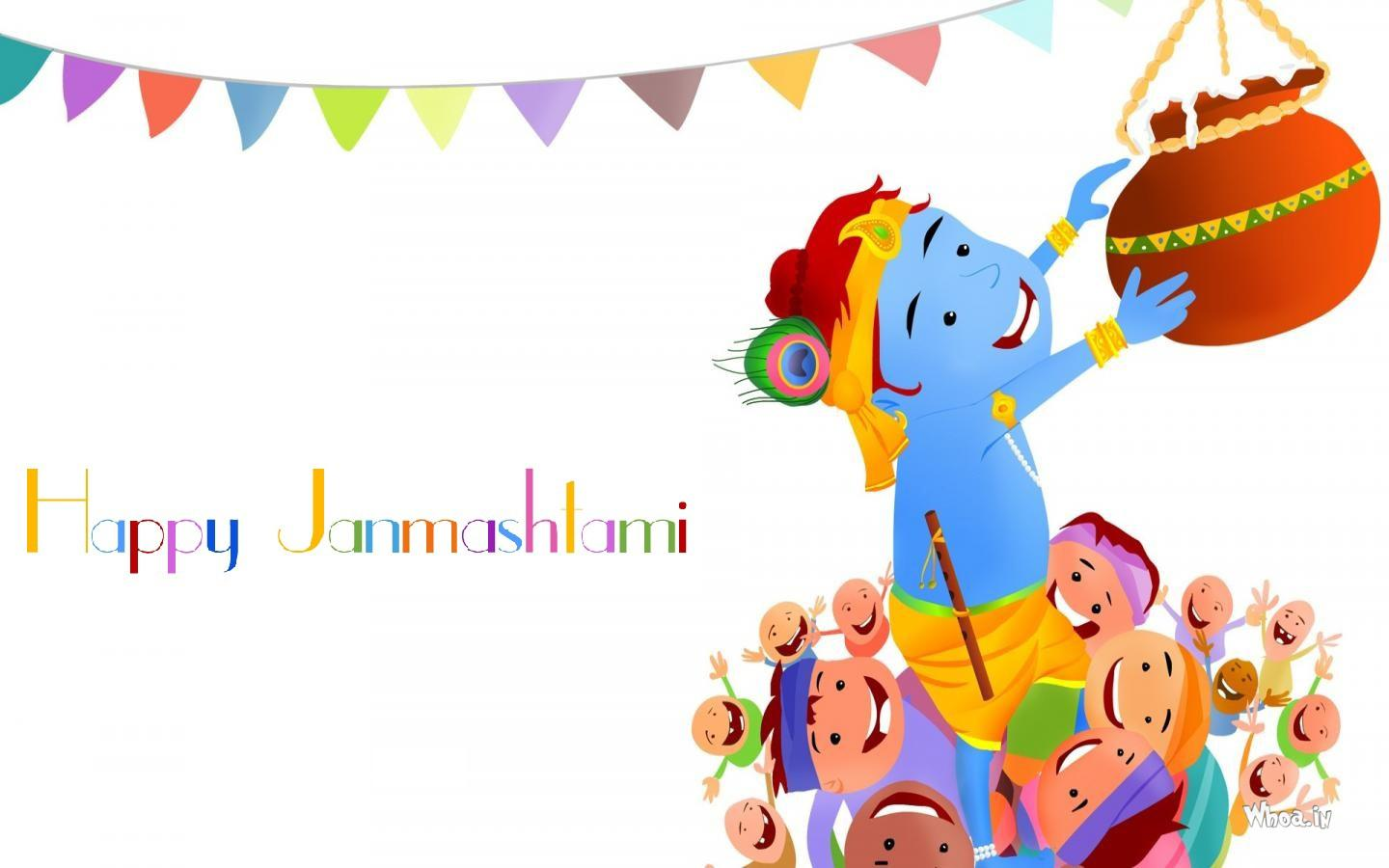 Happy Janmashtami 2019 Cartoon Wallpaper