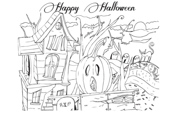 happy Halloween coloring pages for Adult