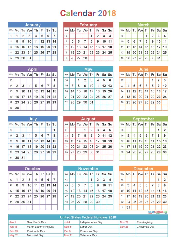 2018 16 printable calendar