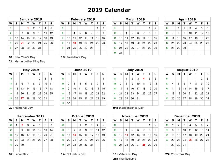 Happy New Year 2019 Calendar Download
