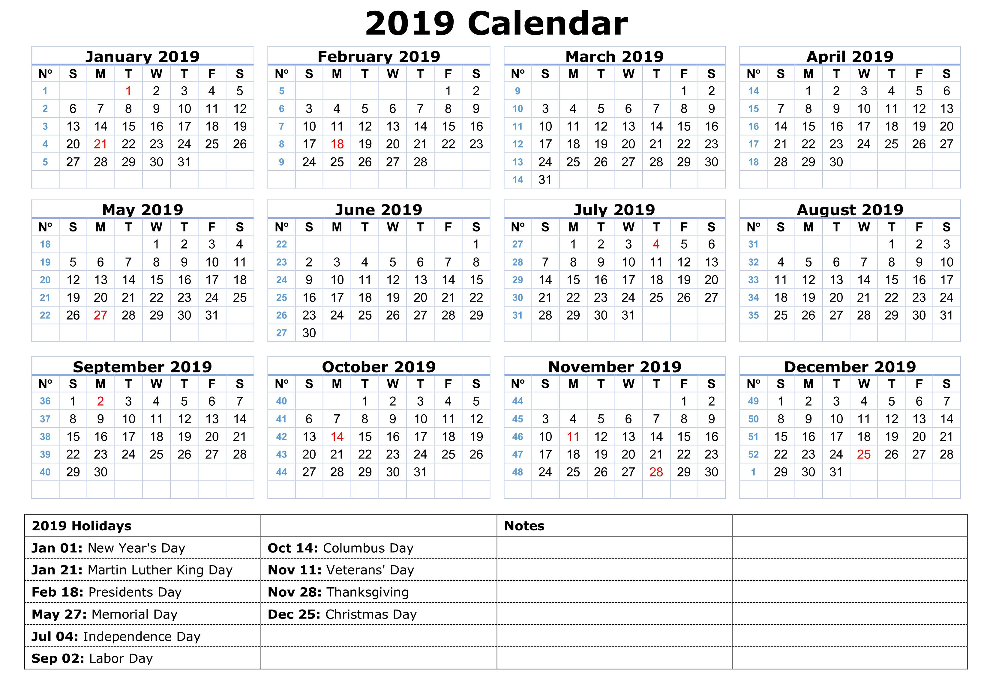 Happy New Year Calendar 2019