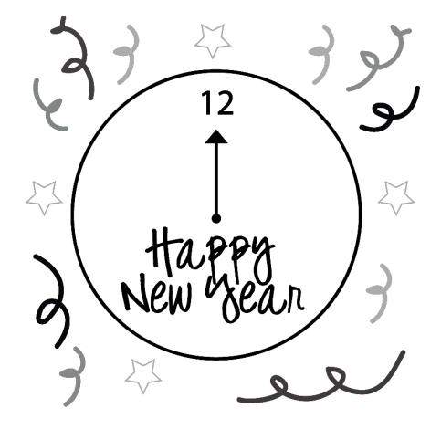 New Year 2019 Clock Black and White Clipart Free