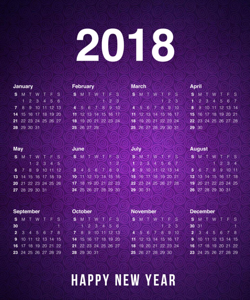 New Year 2018 Calendar Download - New Year 2018 Printable ...