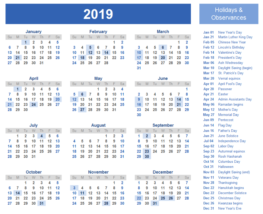 New Year Calendar 2019 Download For Free