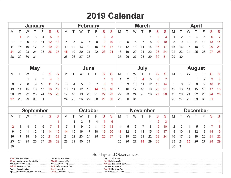 New Year Calendar 2019 Printable Calendar With Holidays