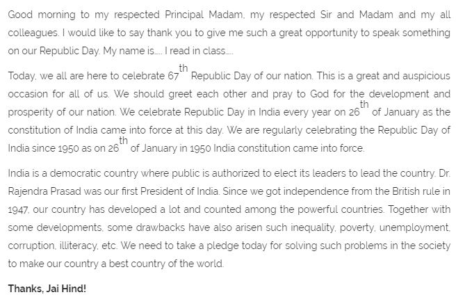 26th January | Republic Day Speech in English