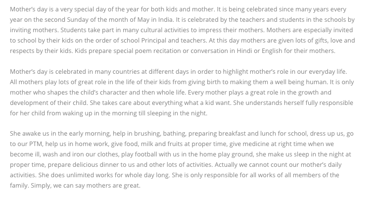 Essay on Mother's Day for Student