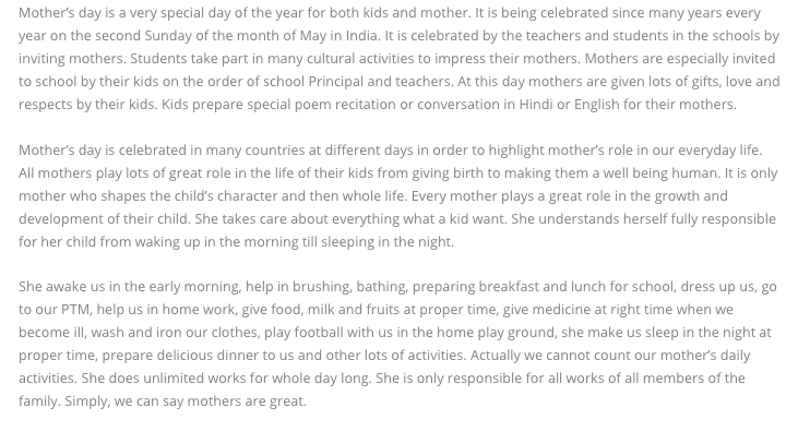 Mother's Day Essay for School