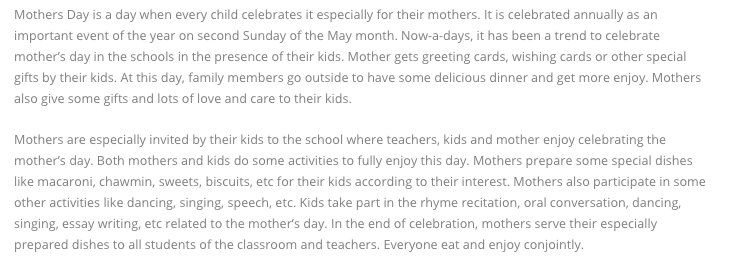 Mothers Day Essay in English