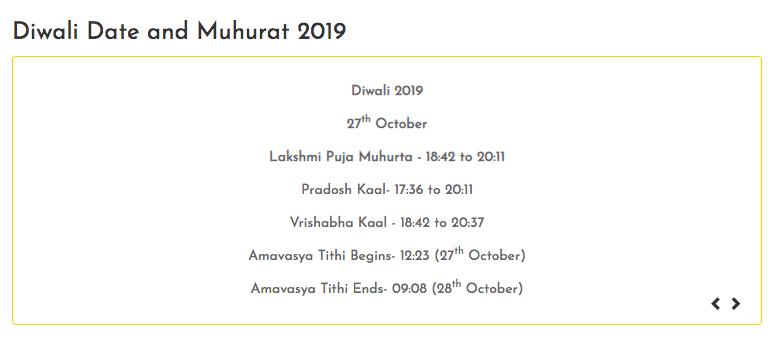Deepavali 2019 Puja Mahurat Time