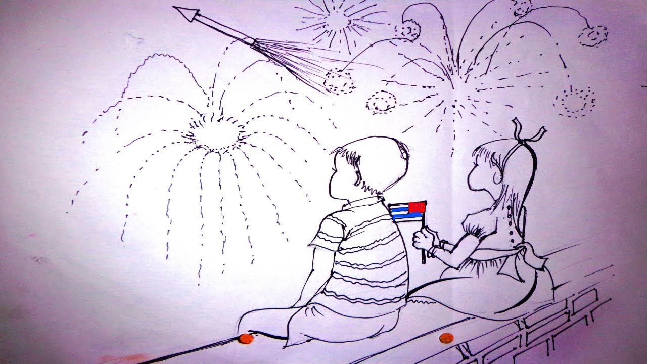 sketch of diwali festival