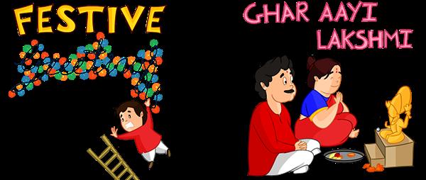 Diwali Cartoon Sticker