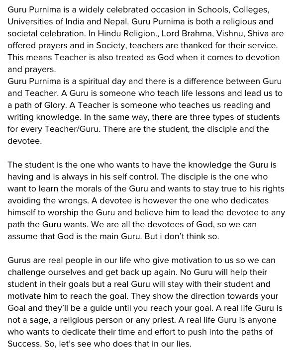 Guru Purnima Speech & Essay PDF