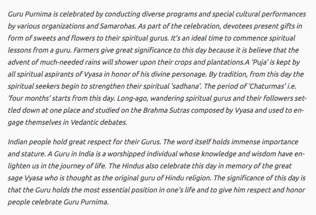Guru Purnima Speech in English